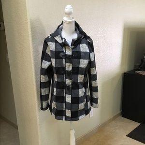 Madden Girl Black&White Checkered Jacket W/hood
